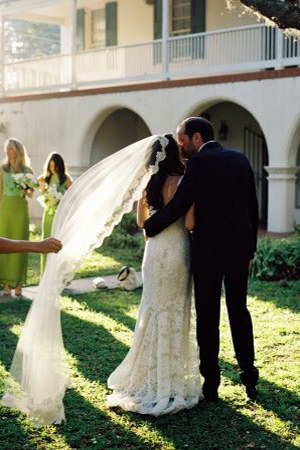 Long Lace Outlined Veil