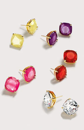 mini small square semiprecious stone stud earrings