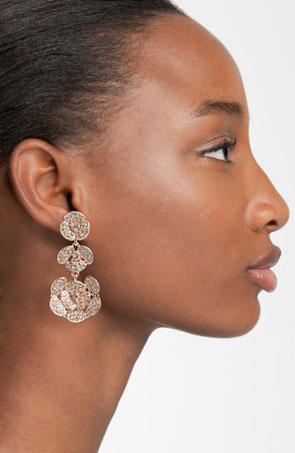'Disco Pansy' pavé flower linear drop earrings