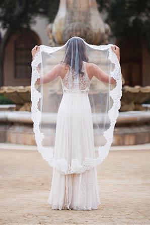 Oleg Cassini Embellished Lace Walking Veil