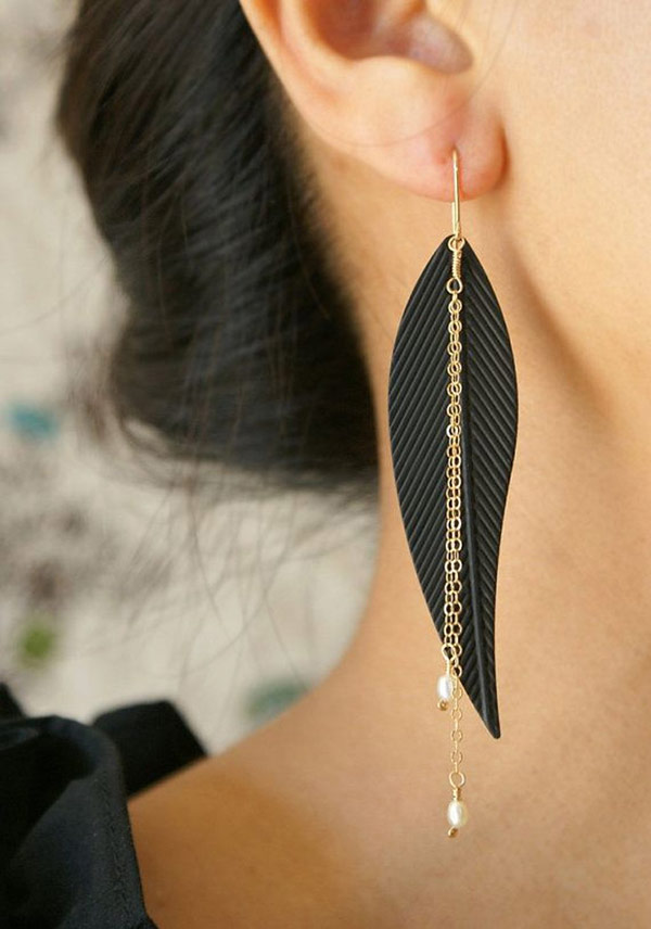 Black Metal Feather Earrings