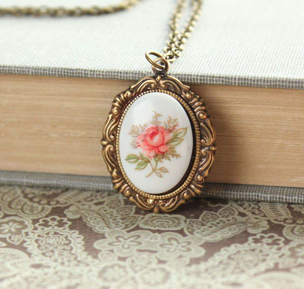 Pink Tea Rose Necklace