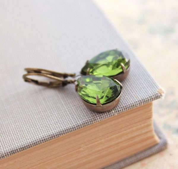 Dark Green Glass Earrings