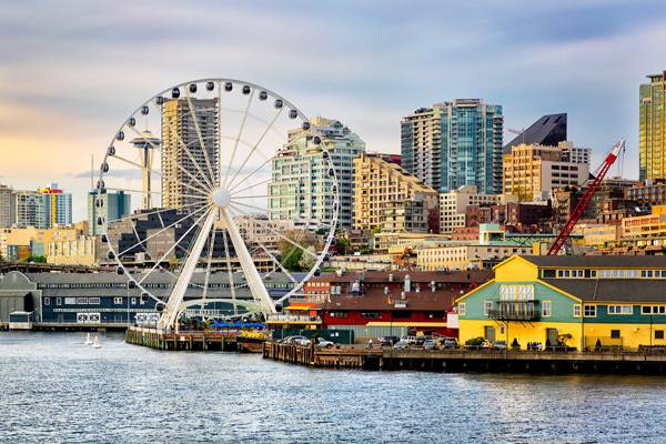 the Space Needle and new Seattle Great Wheel