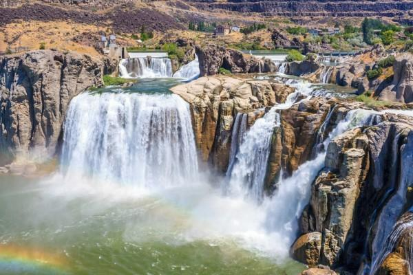 Shoshone Fall outside of Twin Falls with rainbow