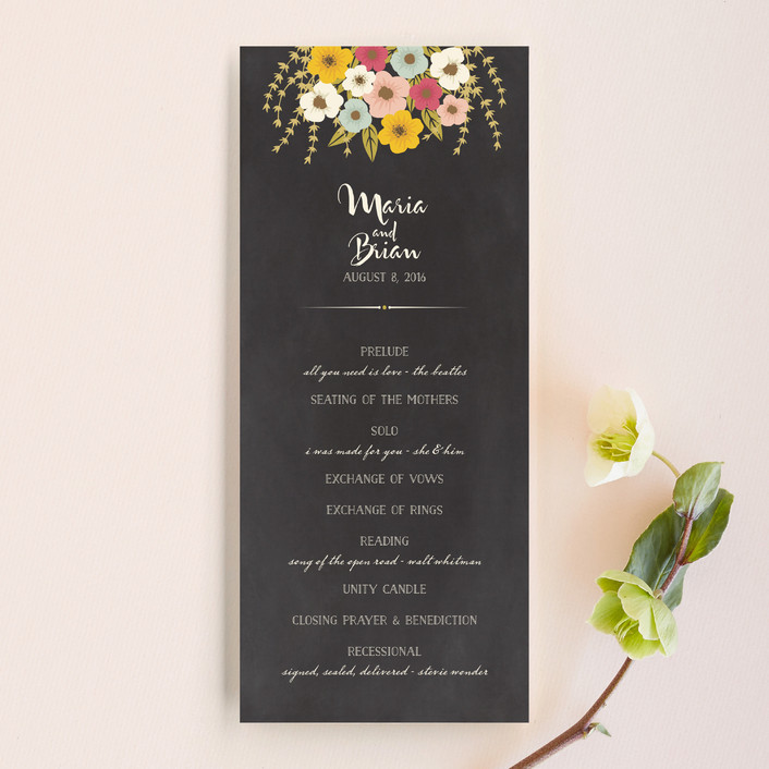 Rustic Wedding Program Simple Flowers