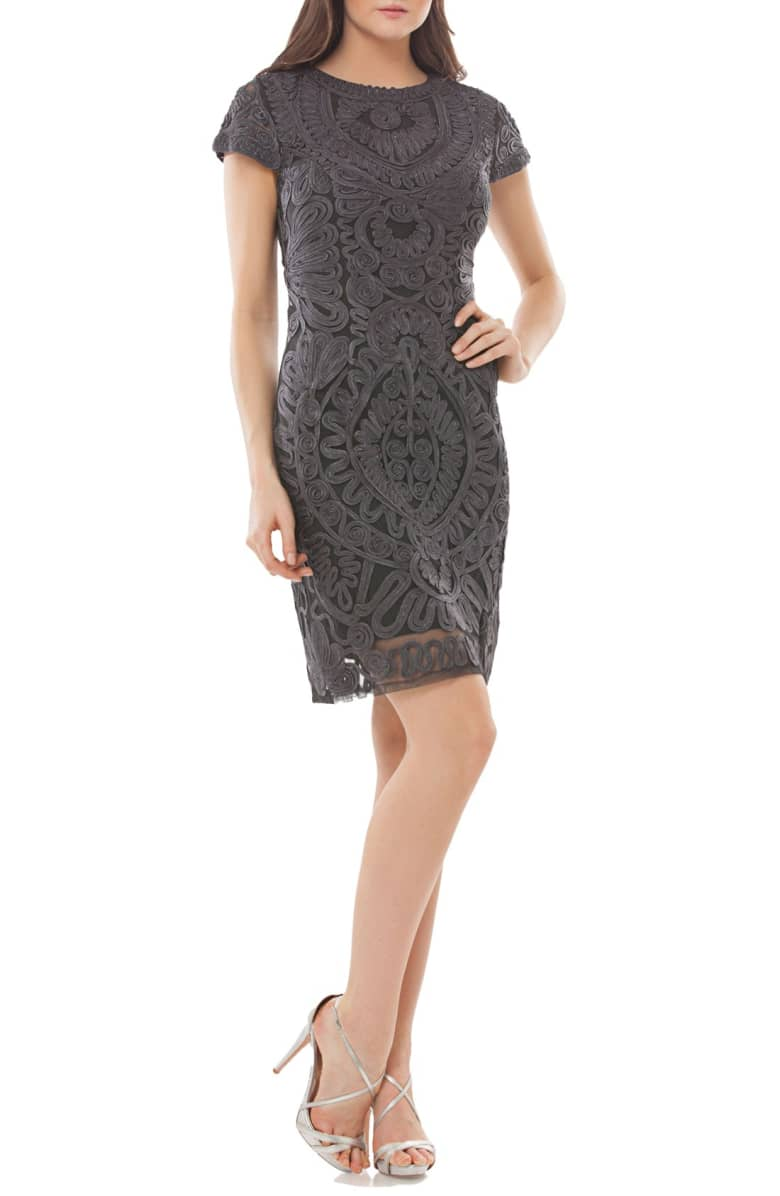 JS Collections Soutache Fitted Cap Sleeve Dress