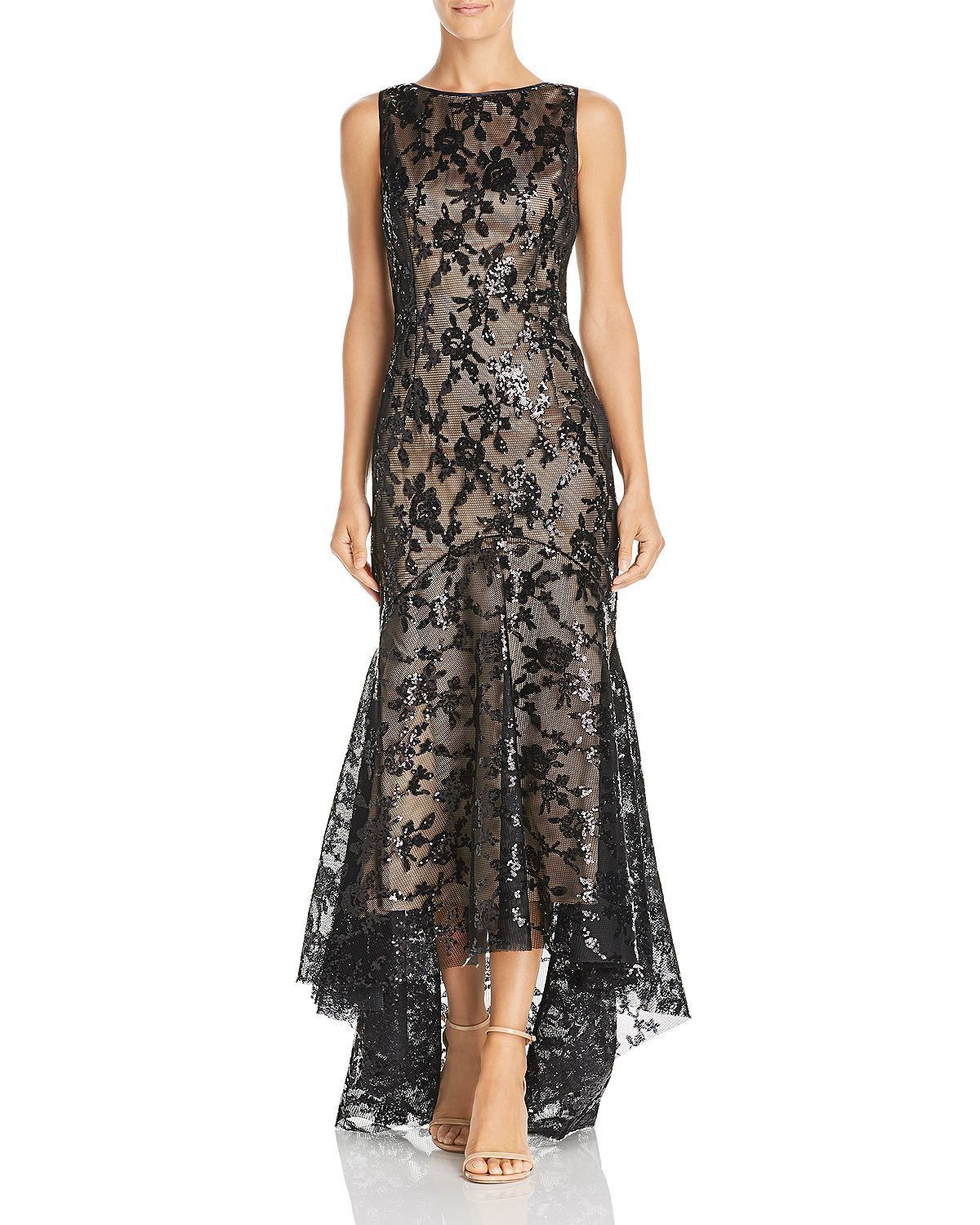 Eliza J High/Low Sequined Mermaid Gown