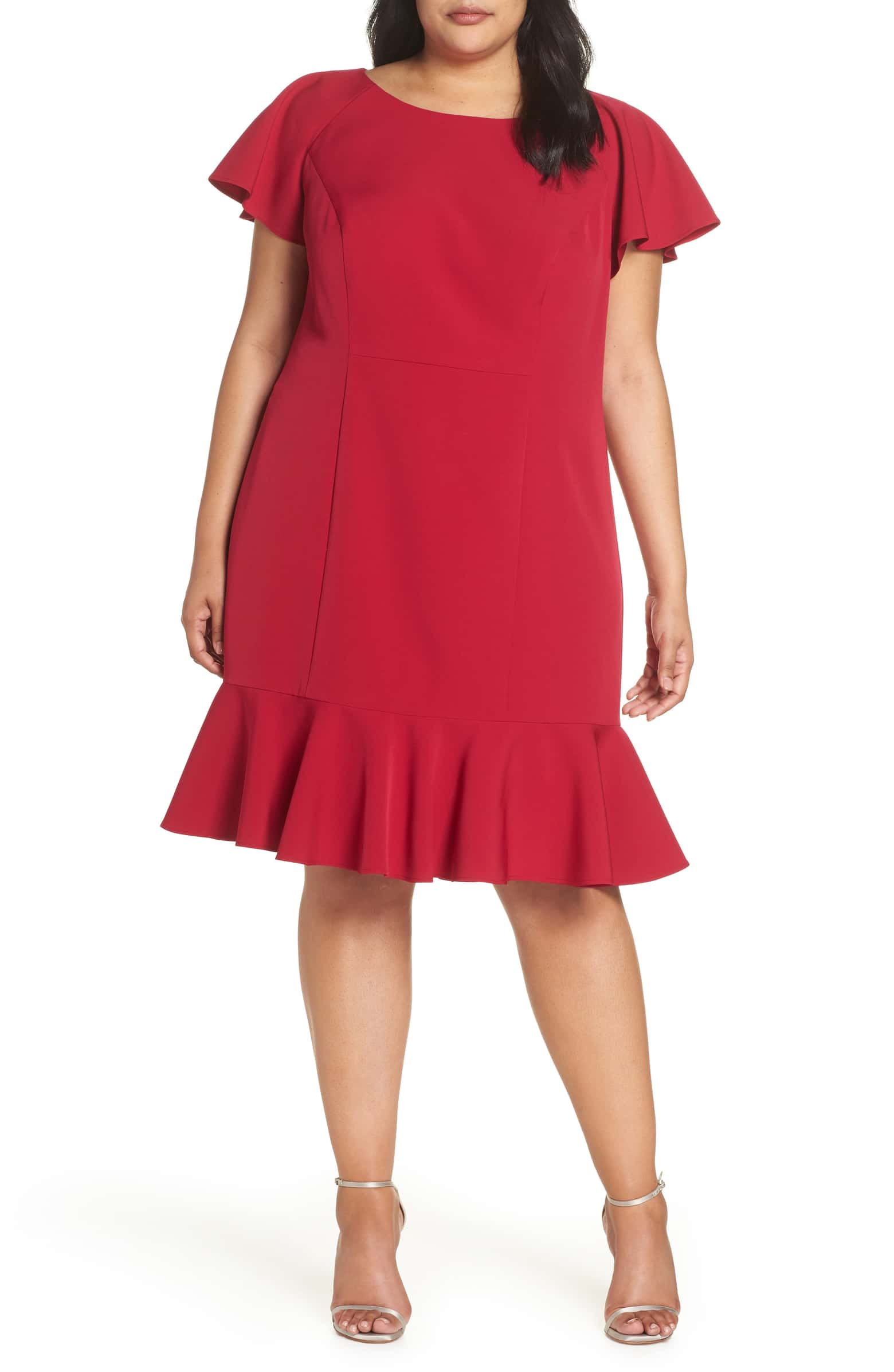 Eliza J Ruffle Hem Sheath Dress