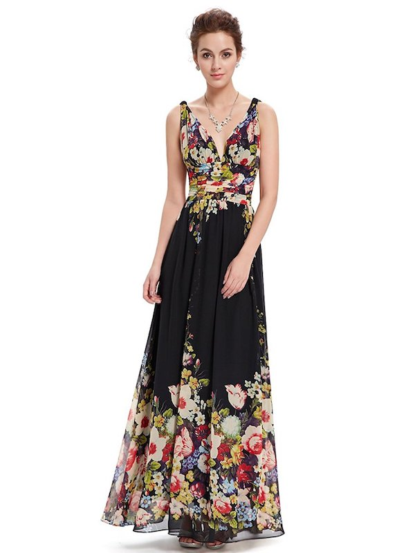 Ever-Pretty Sleeveless V-Neck Semi-Formal Maxi Evening Dress
