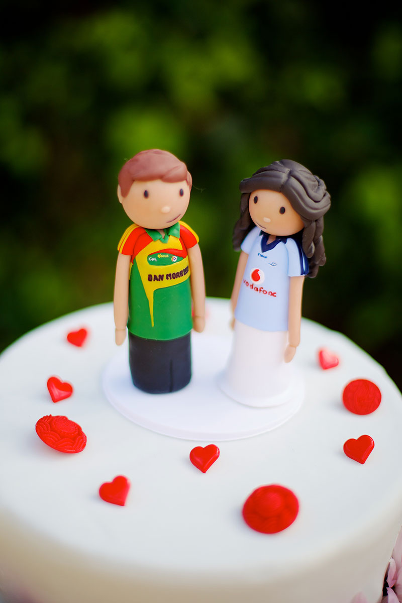 Marzipan wedding cake topper with bride and groom
