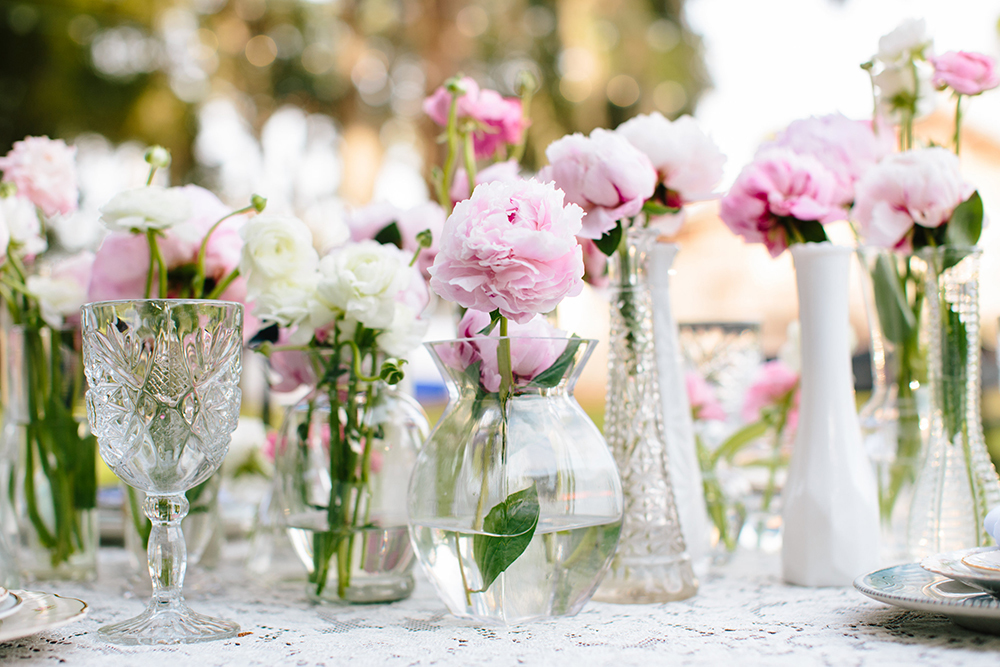 Planning a wedding - milk glass centerpieces