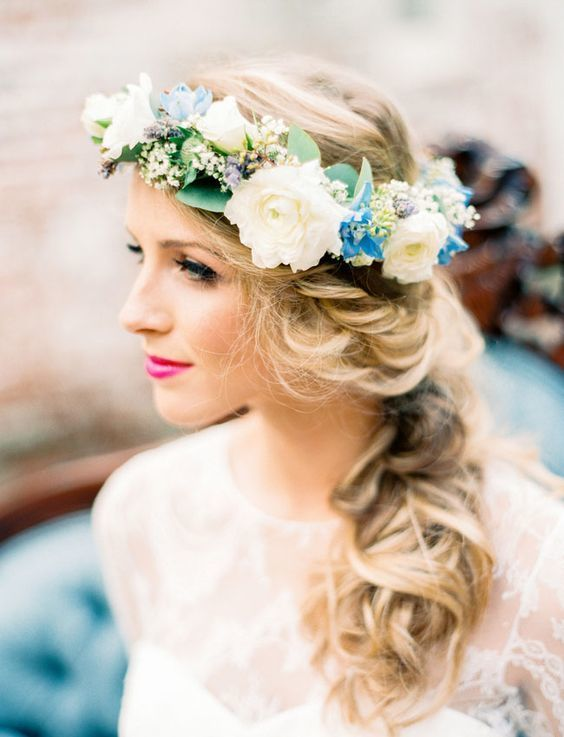 Long hairstyle with flower crown