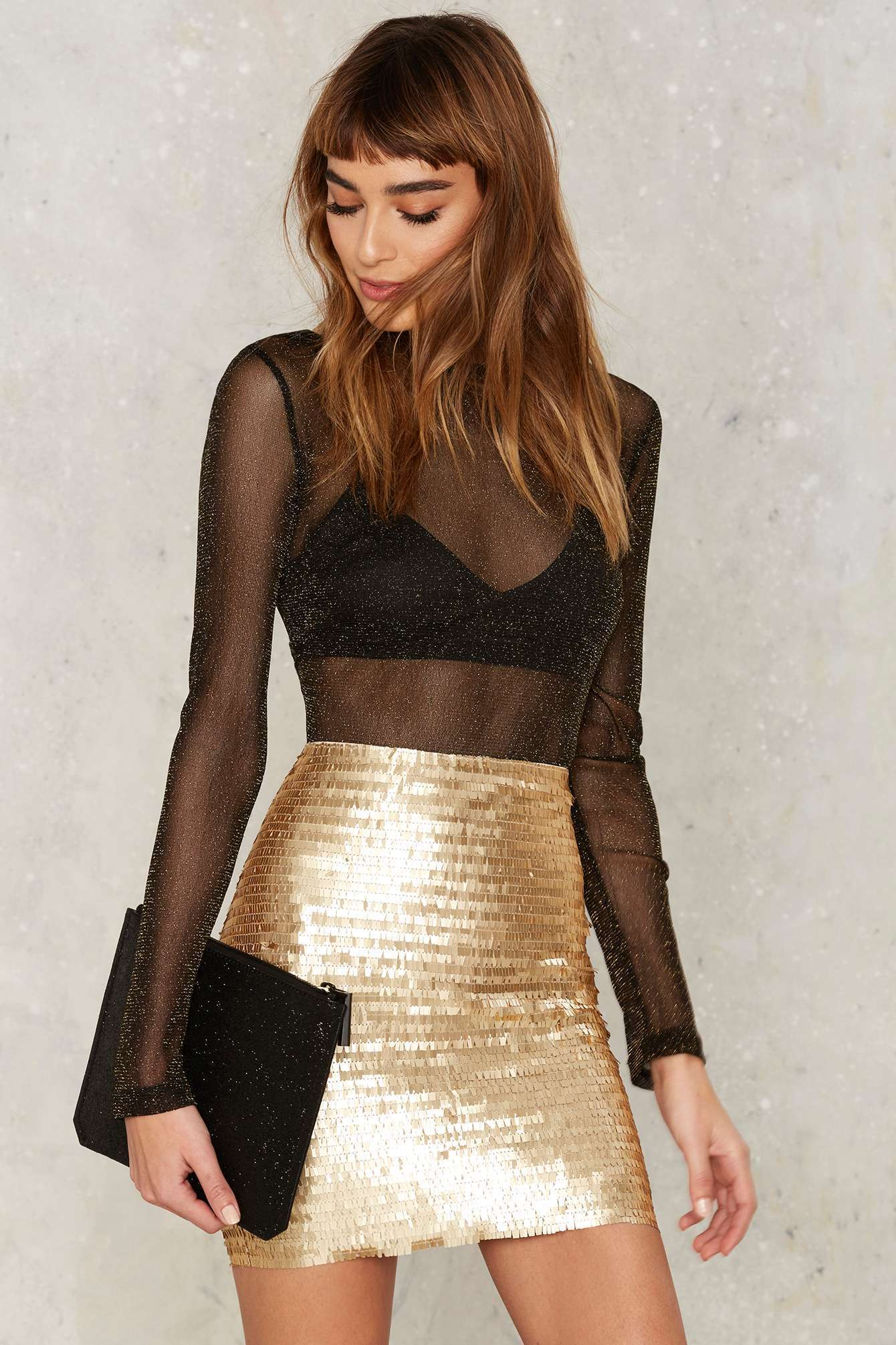 bright gold skirt