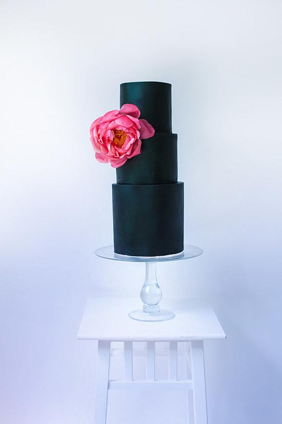 Simple matte black wedding cake