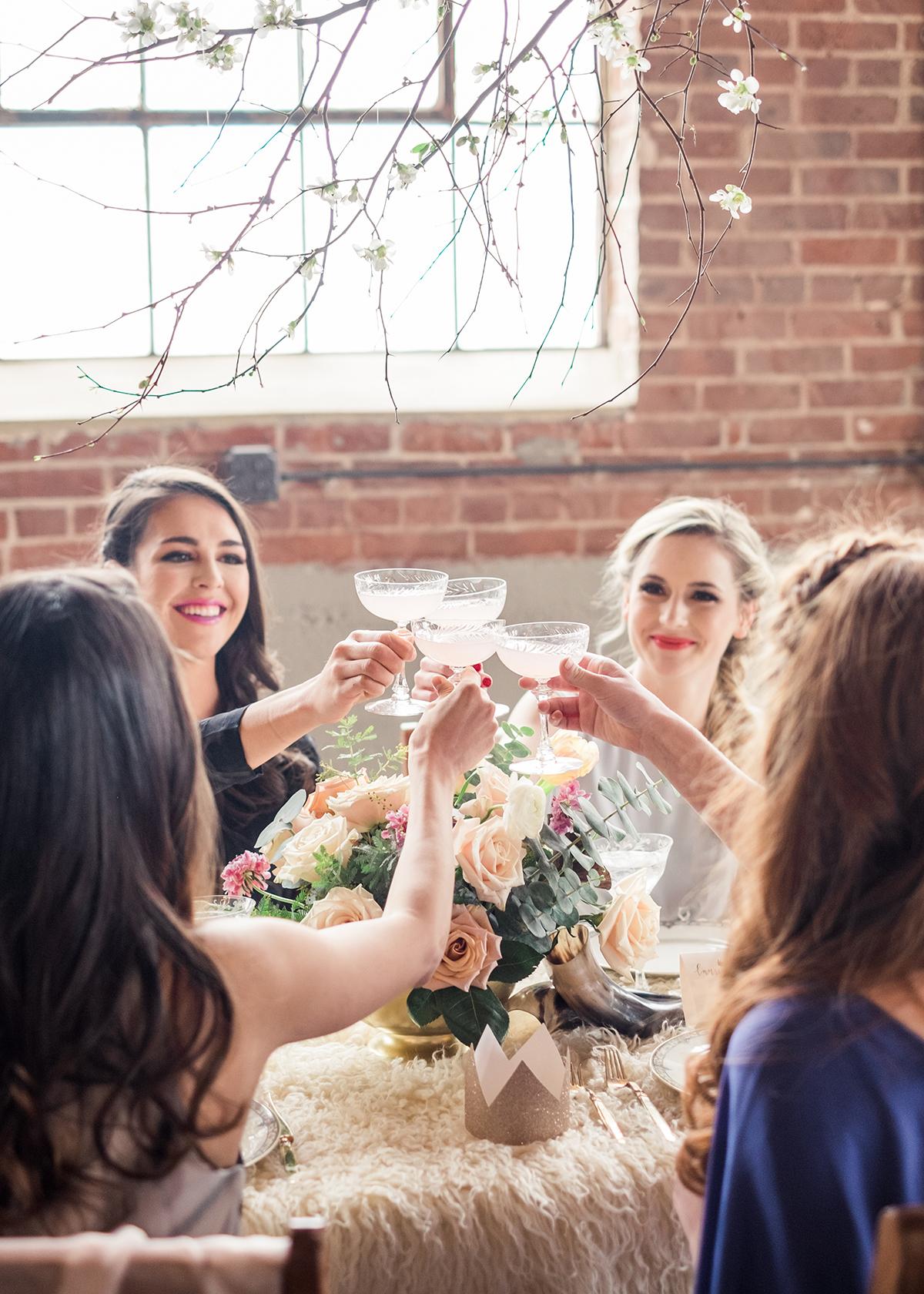 Bridesmaid champagne toast