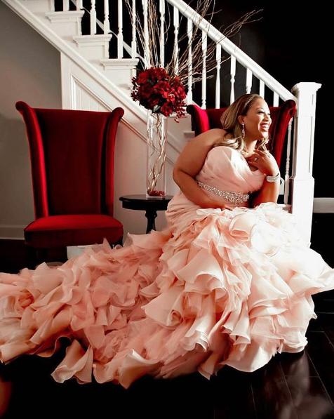 Blush plus-size wedding dress