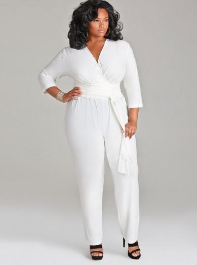 Plus-size wedding jumpsuit