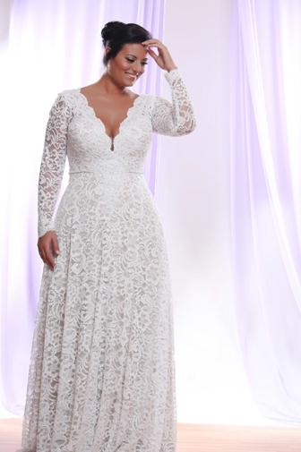 Long-sleeved wedding dress