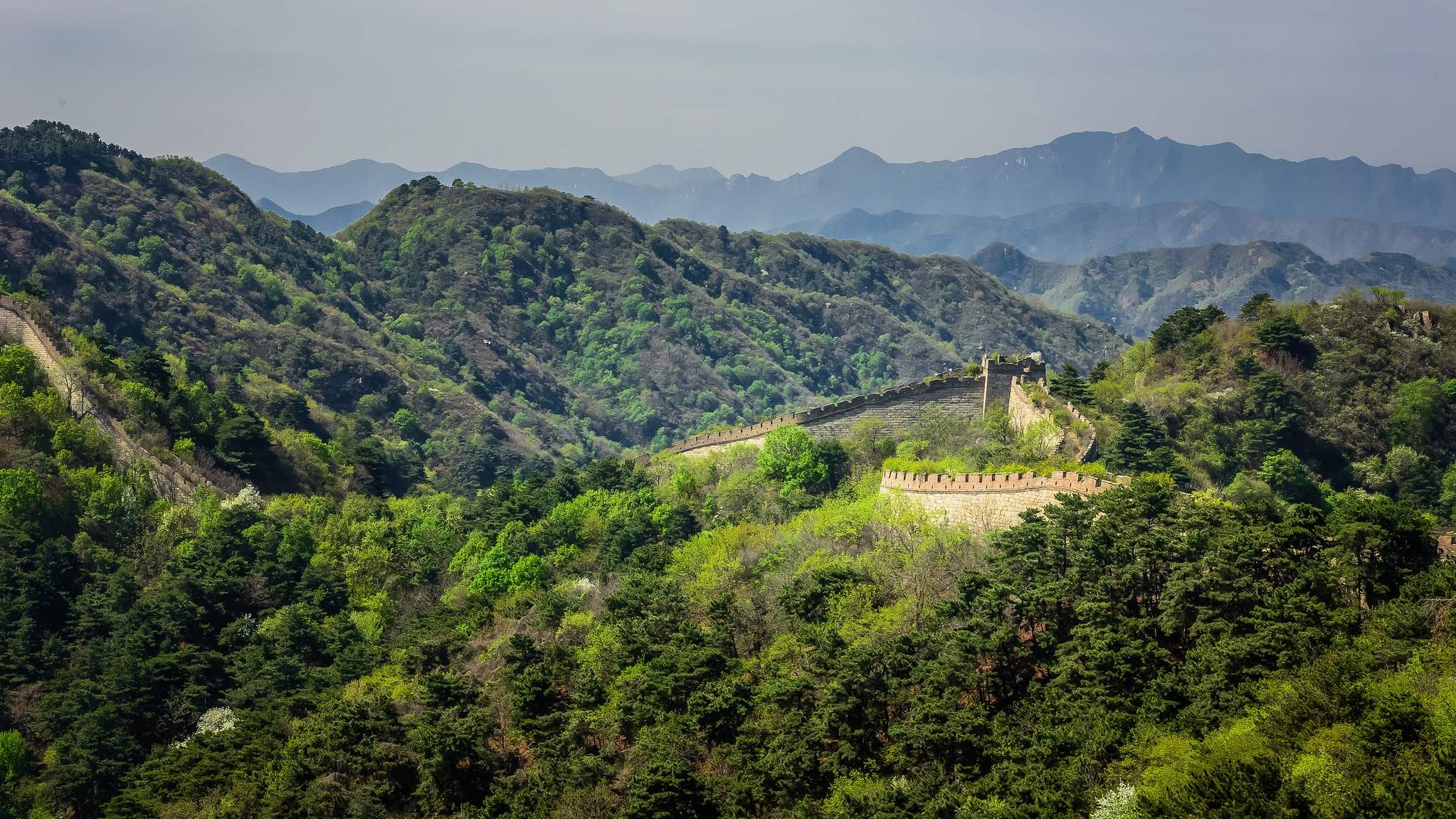 Aerial view of the Great Wall in Beijing, China