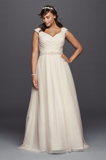 A-line plus size wedding dress