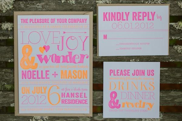 neon wedding invitation
