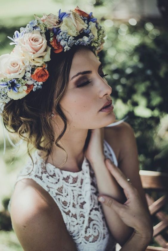 Flower crown and updo