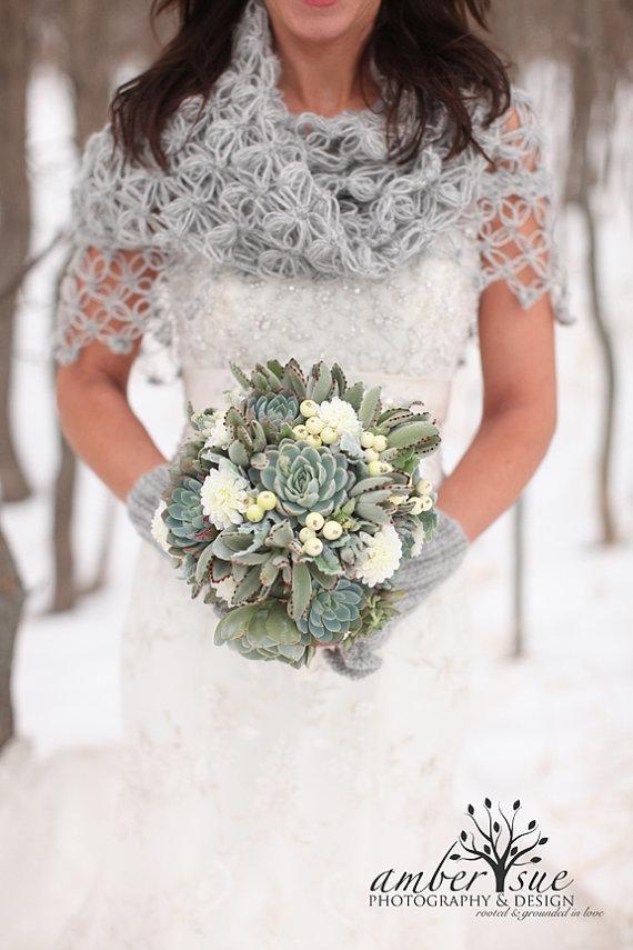 crocheted silver shawl