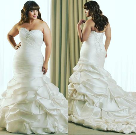 Ruffled plus size wedding dress