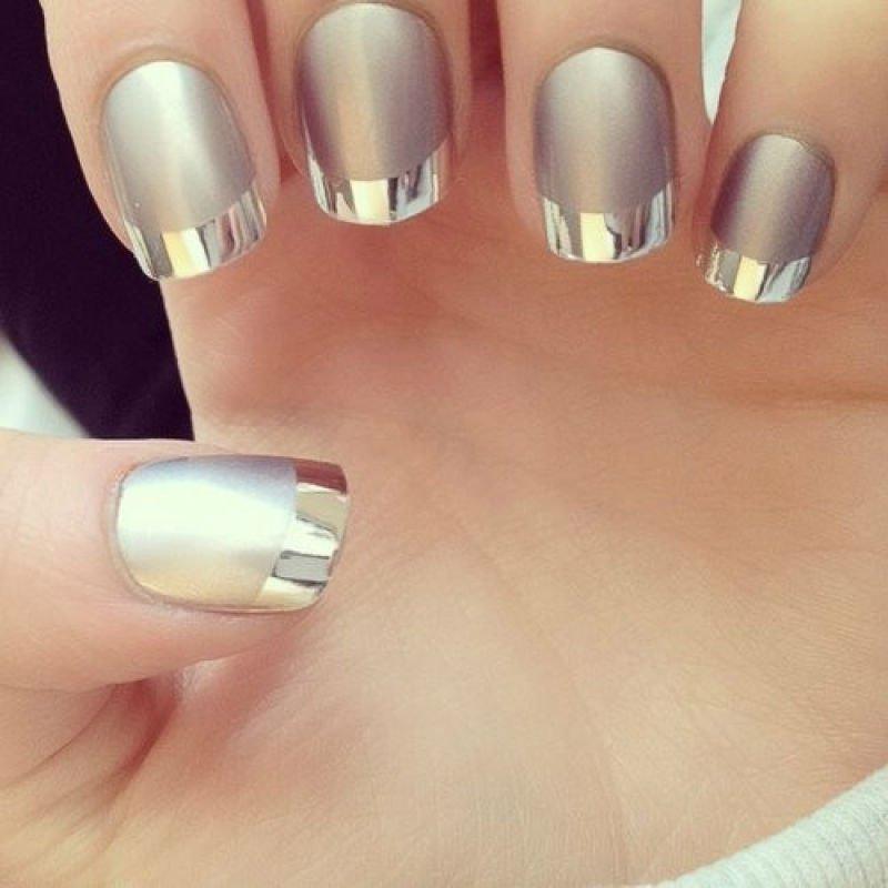 metallic monochromatic manicure