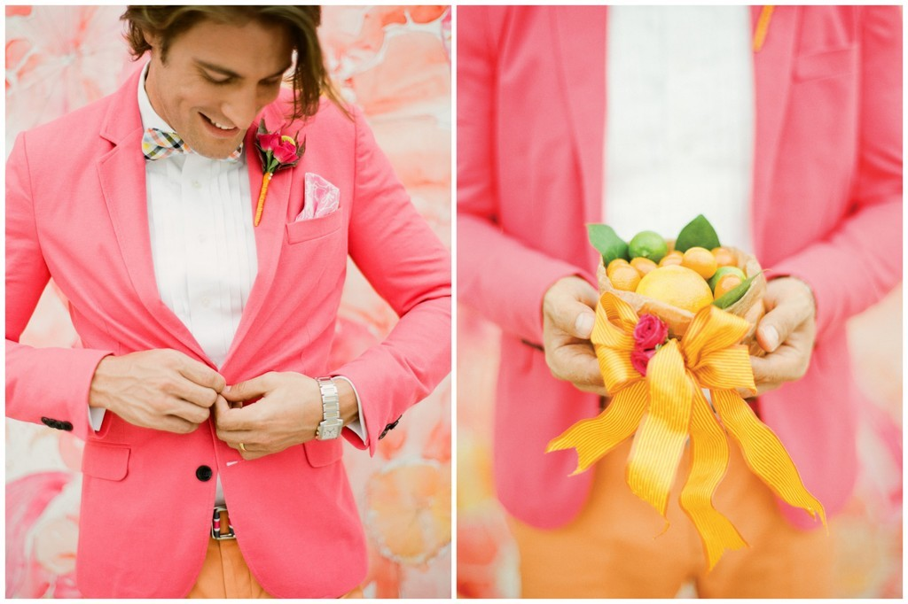 Summer wedding colorful suit