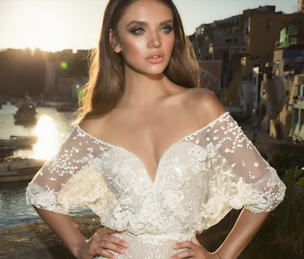 Three-quarter sleeve dress, Julie Vino Wedding Collection