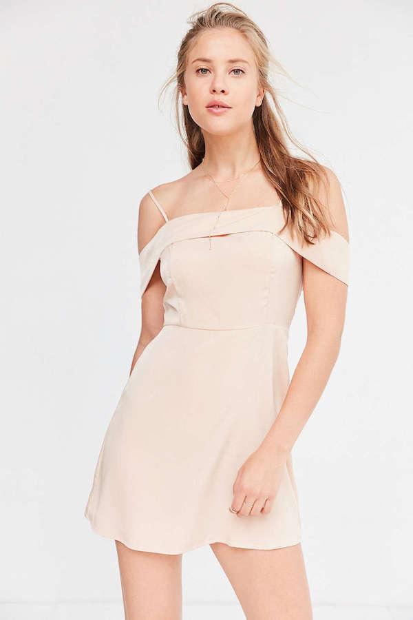 Satin off-the-shoulder dress