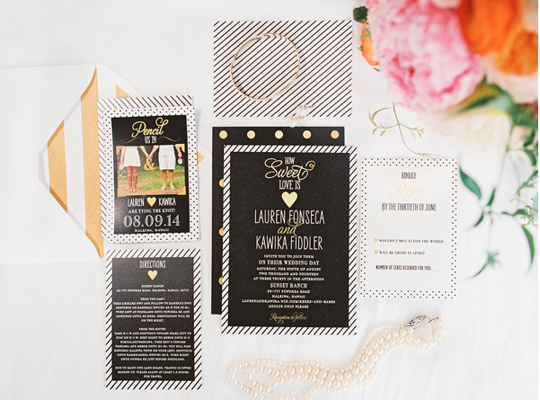 floral and striped invitation