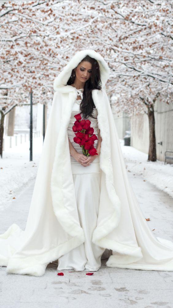 winter bride in cape