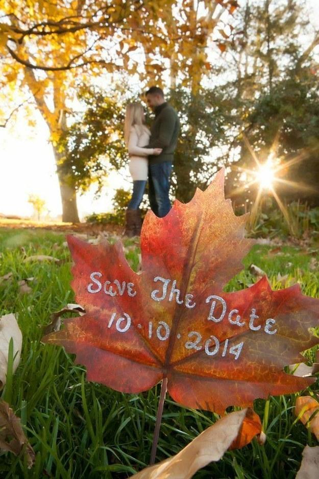 autumn leaf save the date