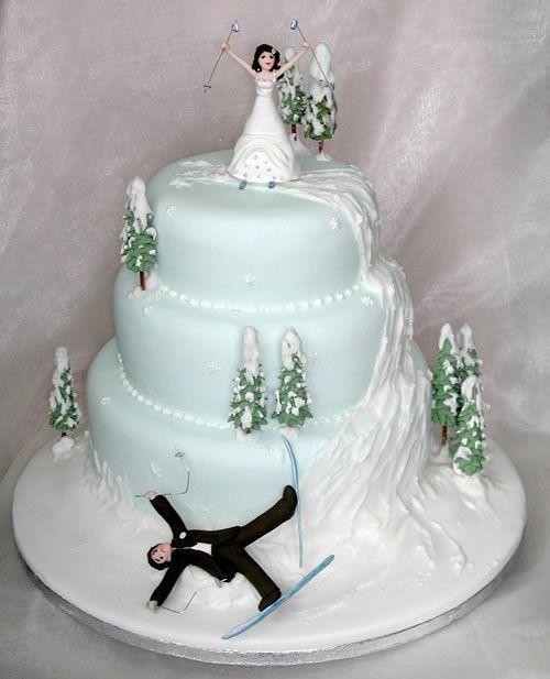 snowy cake topper