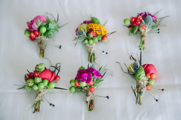 colorful boutonniere seleciton