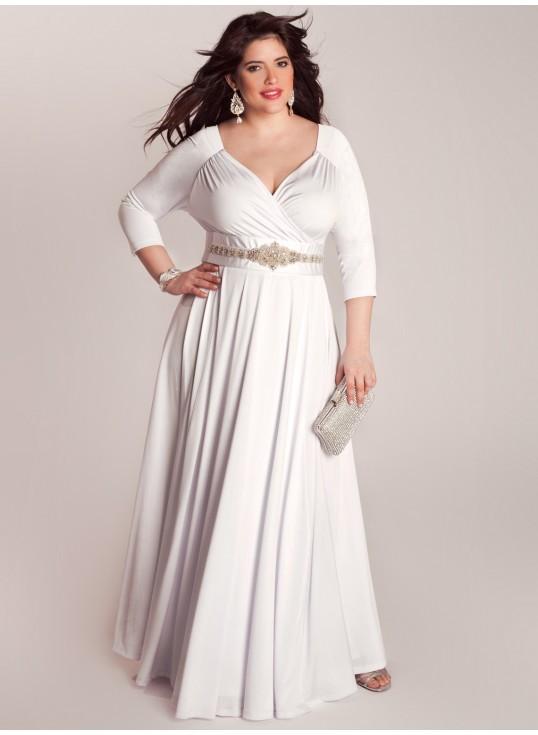 Plus-size wrap wedding dress