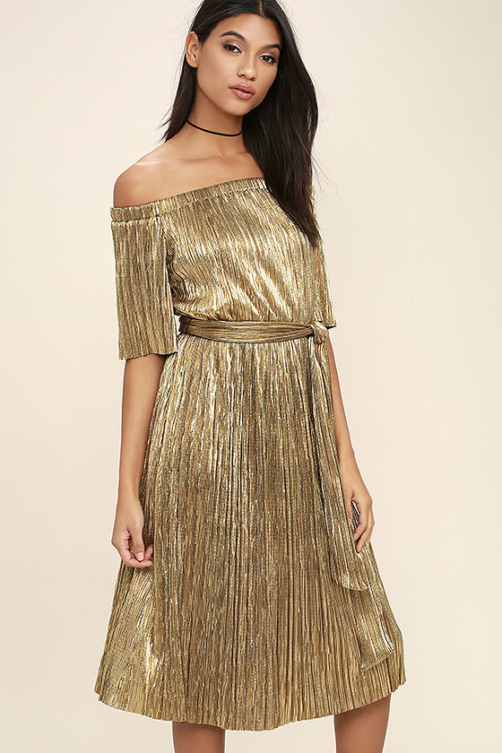 off shoulder gold dress