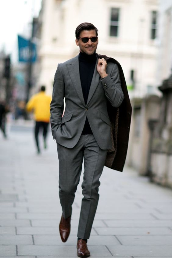suit with turtleneck
