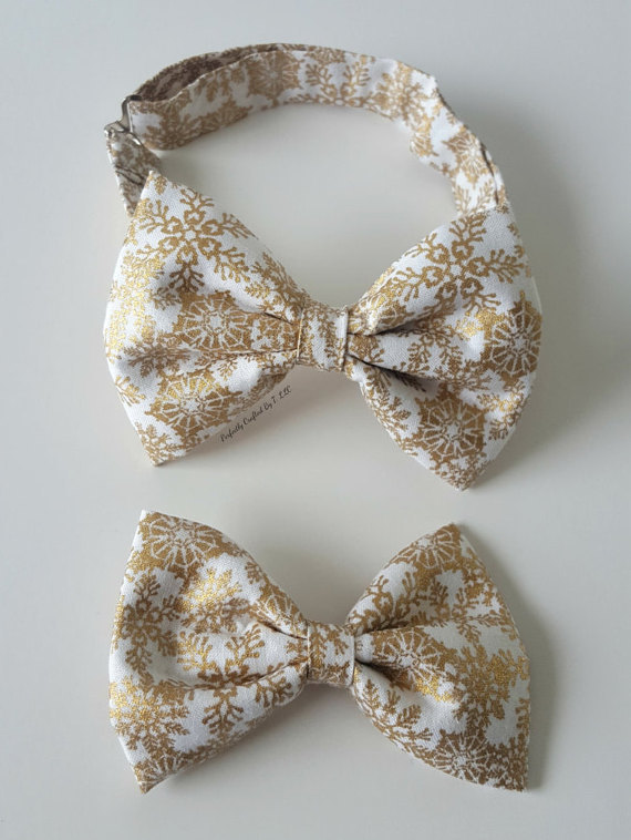 gold and white bow tie
