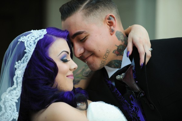 bride with purple hair