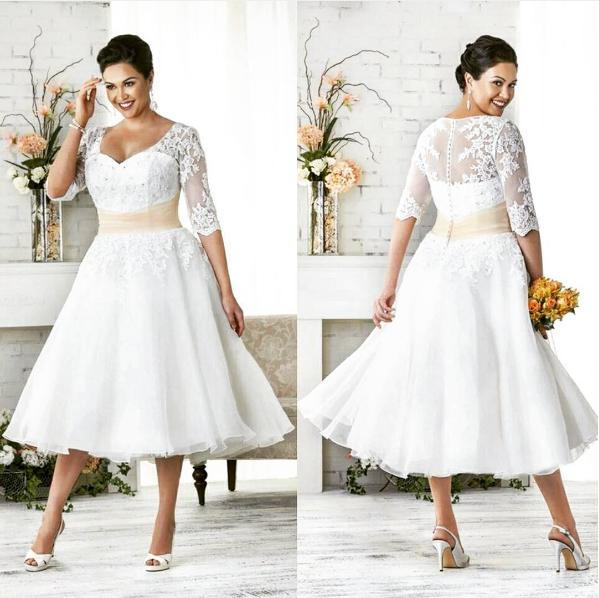 Tea-length plus-size wedding dress