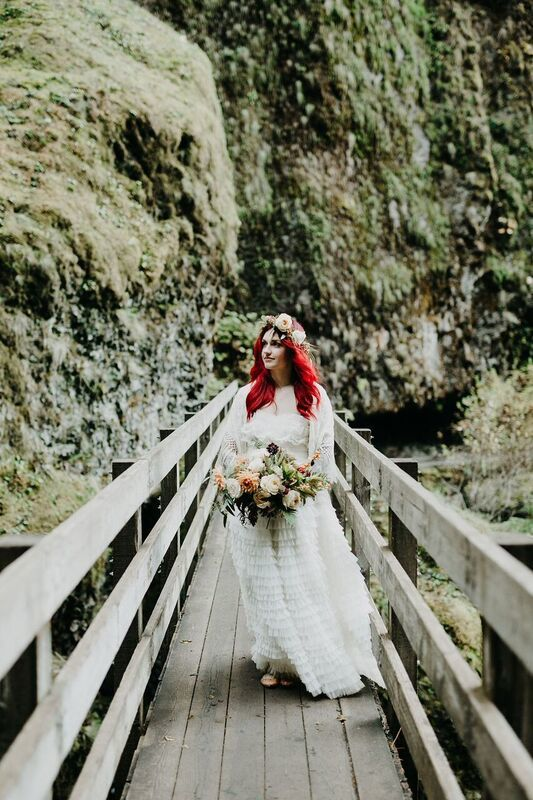 bride with bright hair