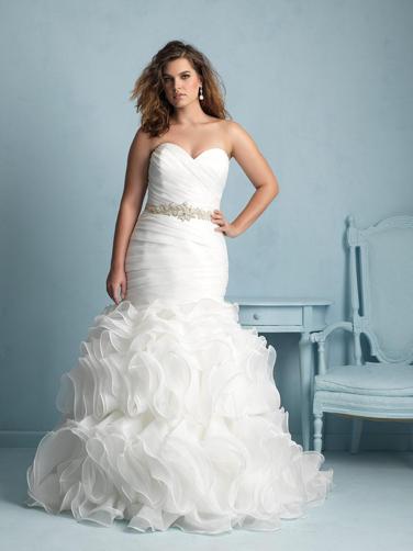 Ruffled plus-size wedding dress