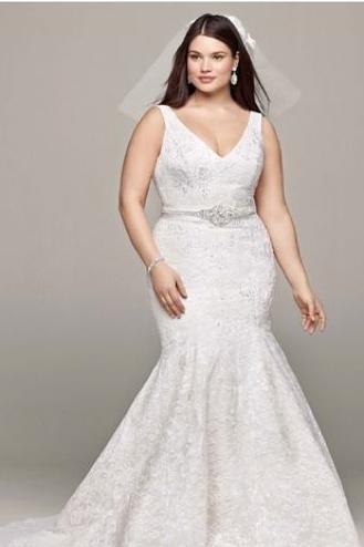 V-neck plus-size wedding dress