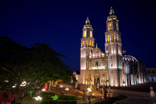 Campeche brightly-colored buildings and Baroque architecture at night