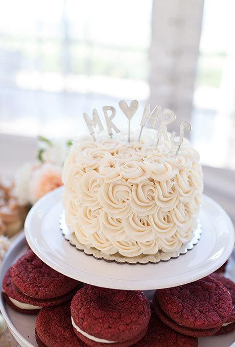 Simple buttercream rosette wedding cake