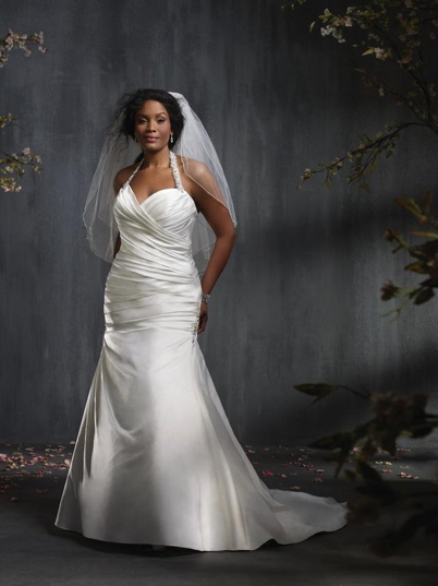 Ruched plus-size wedding dress